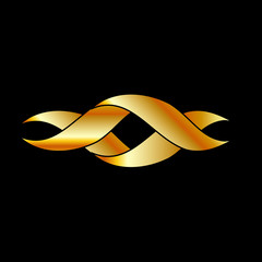 Twisted ribbon- abstract logo or design element in gold