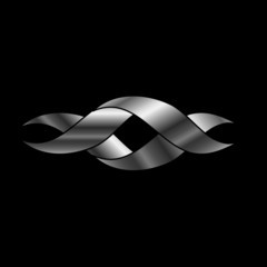 Twisted ribbon- abstract logo or design element in silver