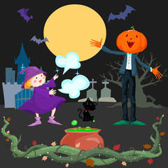 Halloween scene with many character sillustration