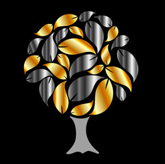Tree with gold and silver leaves