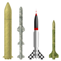 Set of rockets on a white background. Vector illustration.
