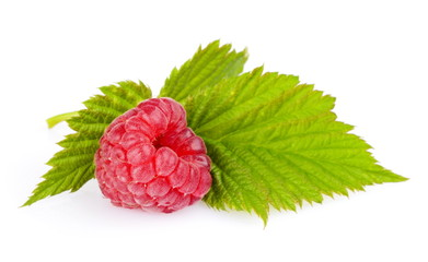 One Raspberry with leaf isolated on white