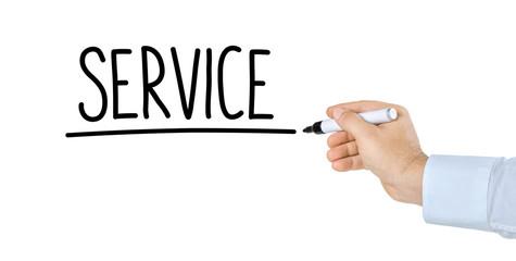Hand mit Stift schreibt Service