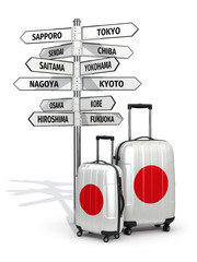 Travel concept. Suitcases and signpost what to visit in Japan.