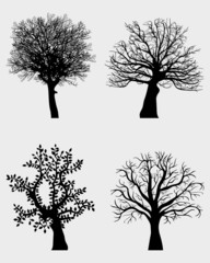 Four black silhouettes of tree, vector illustration
