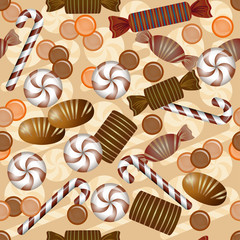 Sweet seamless pattern with chocolate candy