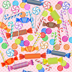 Sweet seamless pattern with mixed colorful candies