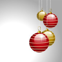 christmas balls grey background