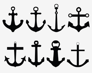 Black silhouettes of different  anchors, vector