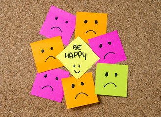 smiley post it note happiness versus depression concept