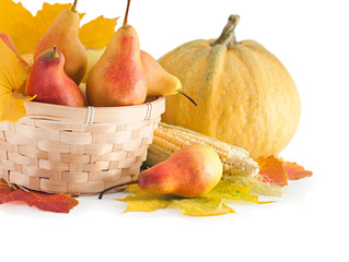 Autumn fruits and vegetables in a basket. The harvest season.