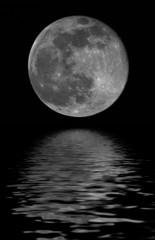 full moon reflected