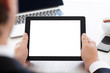 businessman holding a tablet with isolated screen in the office - 71697248