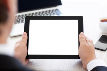 businessman holding a tablet with isolated screen in the office