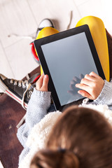 Urban school girl with ipad tablet
