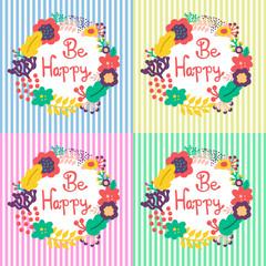 Be happy, floral design. Handmade. Set