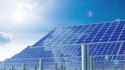 Solar Panels and Sun. 4K.