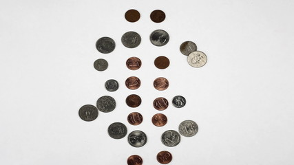 Dollar coins loopable stop motion animation