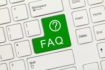 White conceptual keyboard - FAQ (green key)