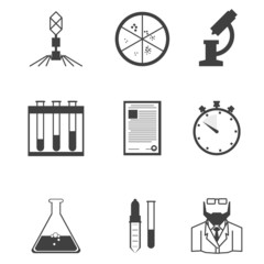Black vector icons for microbiology