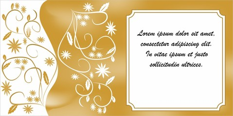 Gift card or invitation card with golden patterns