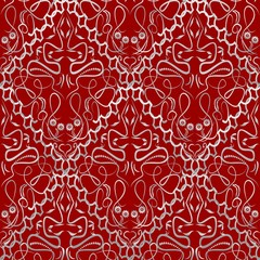Red fabric with an light old-style brocade pattern