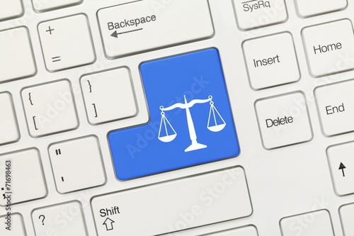White conceptual keyboard - Law symbol (blue key) - 71698463