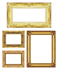 set 4 of Vintage gold frame with blank space, clipping path
