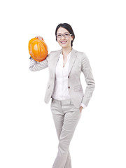 asian businesswoman with safety helmet