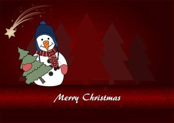 Christmas card with a cute snowman