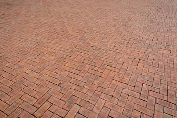 Red brick paving stones