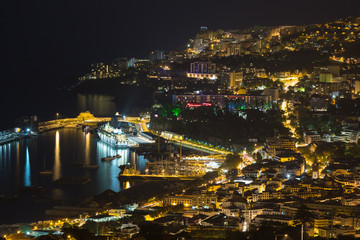 Aearial view at night of Funchal, capital city of Madeira Island