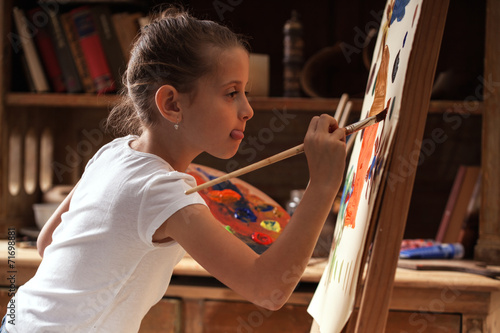 Young talented  girl artist painter - 71698881