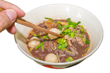 Pork Waterfall noodles (Kuay teow nam tok moo) isolated