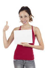 Woman thumbs up with a marketing placard