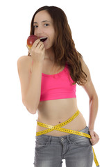 Woman in diet eating an apple