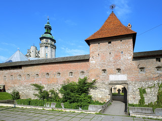 Hlyniany Gate of the Bernardine Monastery in Lviv, Ukraine