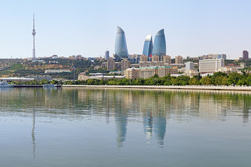 View of Baku downtown with Flame Towers skyscrapers and TV tower