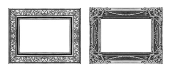 vintage gray rose frame isolated on white background and clippin