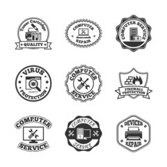 Computer repair labels icons set
