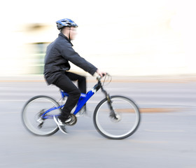 Man on blue bike