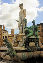 Beautiful fountain of Neptune in Florence
