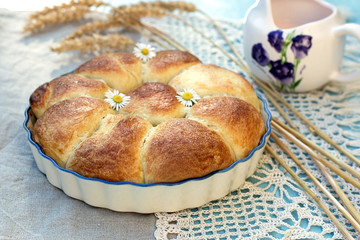 Sweet stuffed buns brioches with flowers