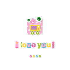 cute baby robot I love you greeting card