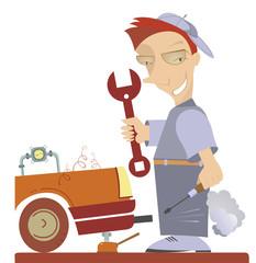 Cartoon comic mechanic repairs a car