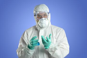 Researcher with protective hazmat suit