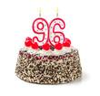 Geburtstagstorte mit brennender Kerze Nummer 96 - 71701672