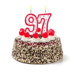 Geburtstagstorte mit brennender Kerze Nummer 97