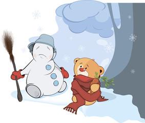 A stuffed toy bear cub and a christmas snowball cartoon
