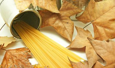 espagueti sobre fondo de hojas